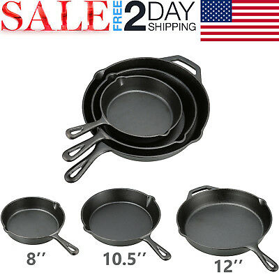 3 CAST IRON SKILLET Pre Seasoned 8 10.5 12 Inch Stove Oven Fry Pans Cookware Set
