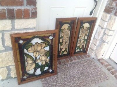 Vtg~Leaded Stained Glass Cabinet Door Panel [[3Pc]]^*^restoration**{{Final List