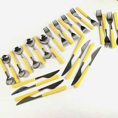 Texas Ware Yellow Melamine Melmac Silverware Lot Service for 8 with Bonus Pieces