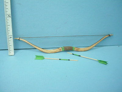 Miniature Long Bow /& Arrows  Green Trim Handcrafted #212G