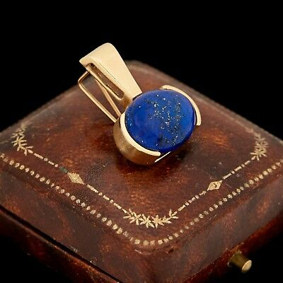 Antique Vintage Art Deco Retro 14k Gold Lapis Lazuli Geometric Necklace Pendant