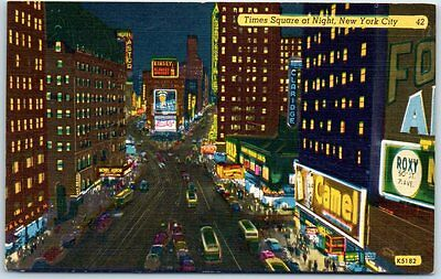 """New York City Postcard """"Times Square at Night"""" Camel Kinsey Hotel Astor Linen"""