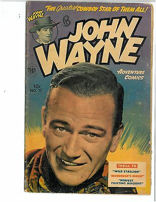 PRICE CUT! JOHN WAYNE ADVENTURE COMICS #17-1952 Toby Press 10-cent VF NICE FLAT!
