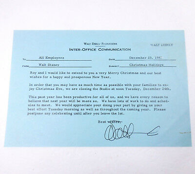 Walt Disney Signed 1957 Christmas Studio Employees Memo with COA Authentic Copy