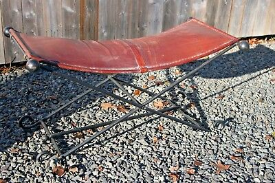 VTG French Mid-Century Modern Neoclassical Leather Iron Folding Bench Ottoman