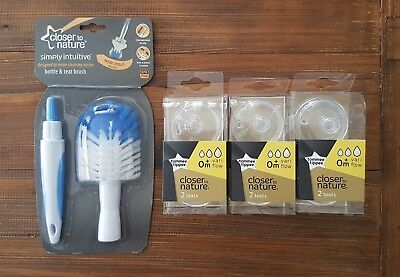 Tommee Tippee Closer to Nature Teats + Bottle and Teat Brush