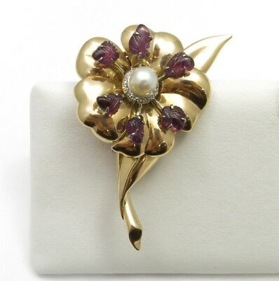 14K Yellow Gold Pearl Amethyst & Diamond Accent Sculpted Flower Brooch Scarf Pin