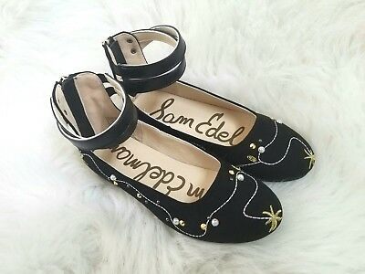 484e36898912d9 Sam Edelman Felicia Josie Girls Size 13 Black Embroidered Star Pearl Flats  NEW