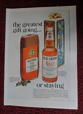 1968 Print Ad Old Crow Bourbon Whiskey ~ The Greatest Gift Going or Staying
