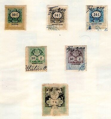 6 Early Austrian-Hungarian Old Revenues/(High Face Values) Hinged On Page