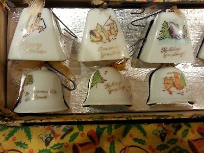 Vintage Set of 12 Mini Porcelain Christmas Bell Ornaments in Original Box Japan