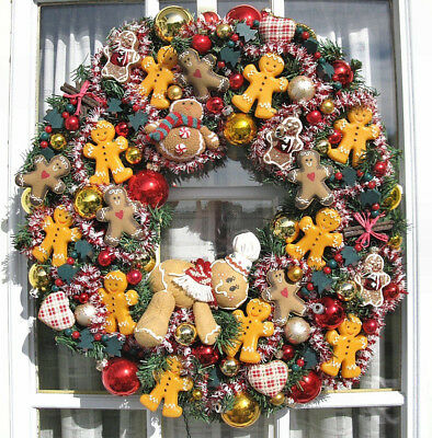 """Lighted Gingerbread Man Christmas Holiday Decorative 22"""" Wreath"""