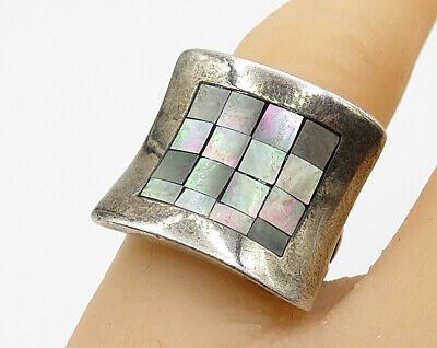 925 Sterling Silver - Vintage Mother Of Pearl Square Grid Ring Sz 5 - R4653