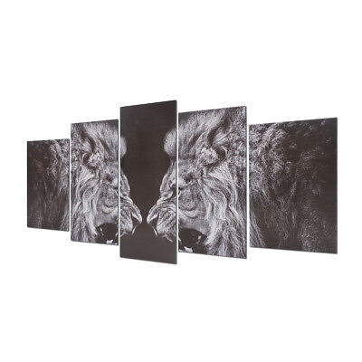 5Pcs Black White Lion Canvas Print Art Painting Wall Picture Home Decor Framed