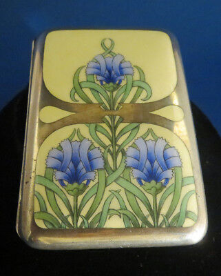 """Antique French """"Art Deco"""" Inlaid Enameled Floral Coin Purse"""