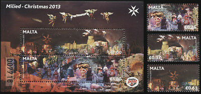 Malta. 2013. Christmas (MNH OG) Set of 3 stamps and 1 S/S