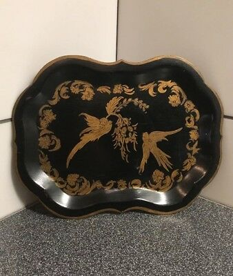 """Antique Victorian Tin Tole Tray Toleware Gold  Two Birds Chinoiserie 9-1/2""""x7"""""""