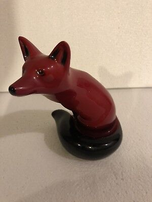 Rare Vintage Royal Doulton Flambe Seated Fox