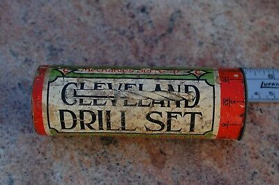 Antique Cleveland Twist Drill Co. Round Wooden Holder Index Vivid Graphics A+ A+