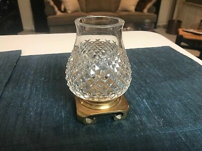 """SUPERB VINTAGE 5 3/4"""" Waterford ALANA CUT CRYSTAL ELECTRIC LAMP BASE  EXCELLENT!"""