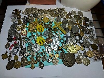 Massive Lot Vintage Antique Mod Religious Medals Items Statues Findings Jewelry