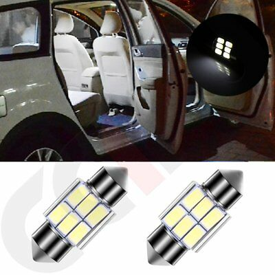 2x Dome Map Trunk Bulbs for Car 31mm Interior Festoon LED 5630-6SMD White Lights