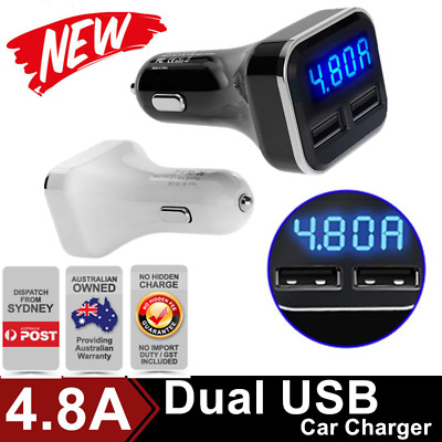 4.8A Dual USB Car Charger Adapter LCD for iPhone Samsung LG HTC Nexus iPad LOT K