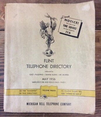 Vtg May 1956 Flint Michigan Bell Telephone Book Yellow Pages 346 Pages EX+ Cond