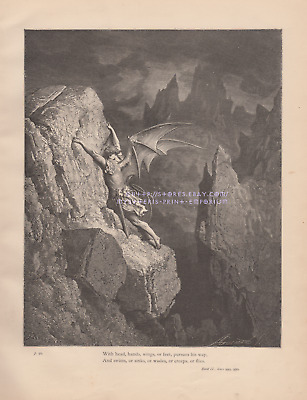 Satan Descends To Hell-1885 ANTIQUE VINTAGE ART PRINT-Gothic-Cast From Heaven