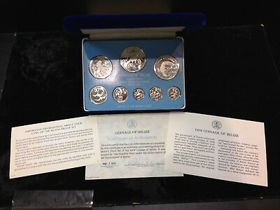 1978 Belize Silver 8 Coin Sterling Silver Proof Set Franklin Mint Box & Coa