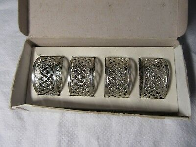 Lot22 - Vintage Silver Plated NAPKIN RINGS Pierced Design - Boxed Fiesta Parties