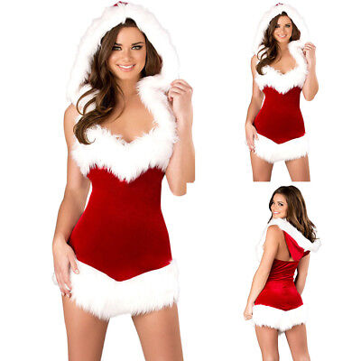 AU Ladies Mrs Santa Claus Outfit Xmas Sexy Costume Adults Christmas Fancy Dress