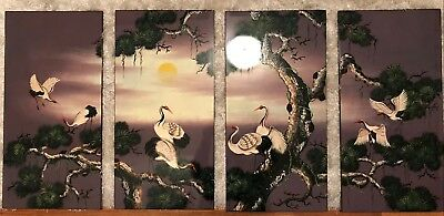 Vietnamese lacquer painting in 4 sections - Cranes, youth and happiness