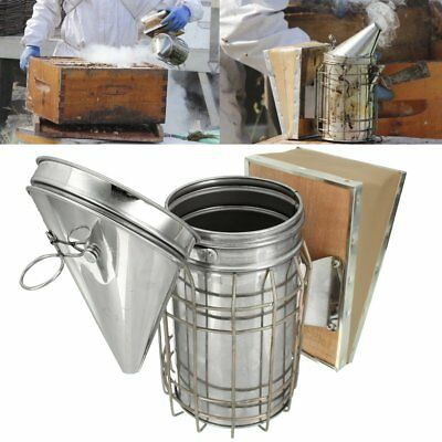 Bee Hive Smoker Stainless Steel w Heat Shield Apiary Fogger Beekeeping Equipment