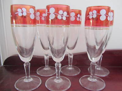Vintage Set Of 6 Ruby Trim Champagne / Wine  Glasses