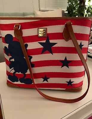NWT DISNEY Dooney & Bourke MICKEY MOUSE Americana Red White Blue Flag Tote Bag
