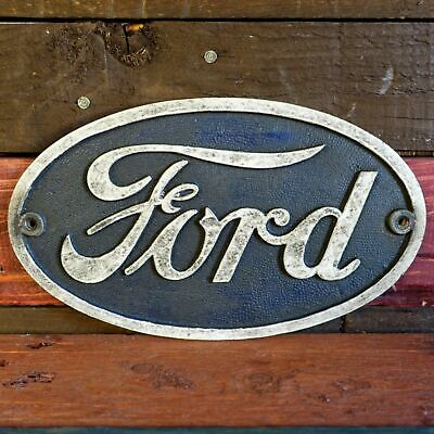Ford Auto Cast Iron Embossed Sign Auto Shop Garage Bar Man Cave Antique Vintage