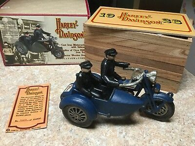 Reproduction Cast Iron Harley Davidson Motorcycle With Side Car