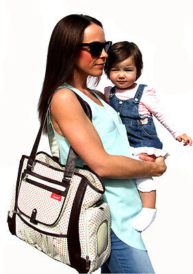Large Gorgeous Carry Diaper Nappy Bag (beige & choc) POPULAR DESIGN NEW Baby Bag