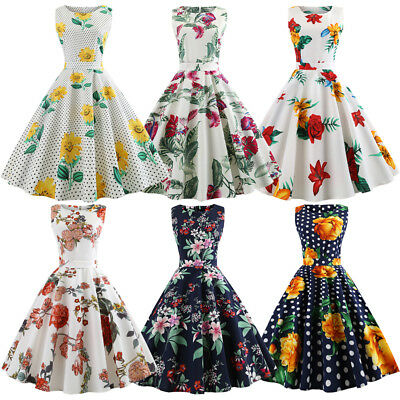 Womens 50'S 60'S Vintage Style Floral Flared Party Pinup Rockabilly Swing Dress