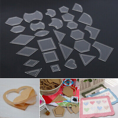 54pcs Mixed Handmade Quilt Templates Tools Patchwork Quilter Quilting Supply DIY