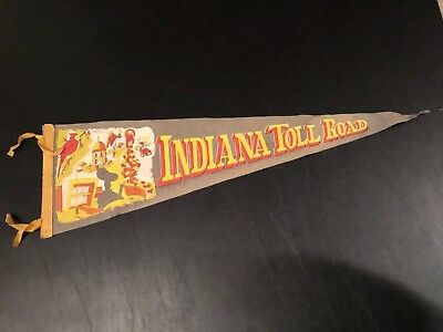 Vintage  Indiana State Pennant Indiana Toll Road
