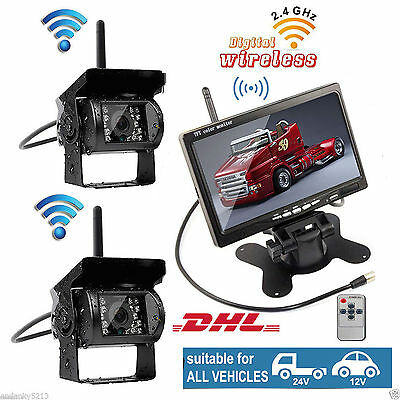 "Dual Wireless Car Rear View Reverse Back up Camera+7"" Monitor for RV Truck SETS"