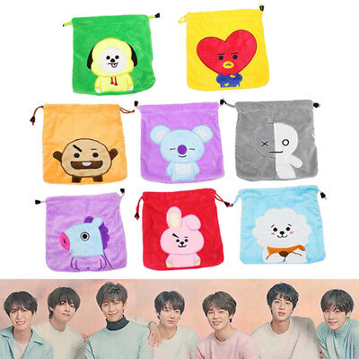 Kpop BTS Bangtan Boys BT21 Plüsch Storage Bag Travel Kordelzug Münze Tasche