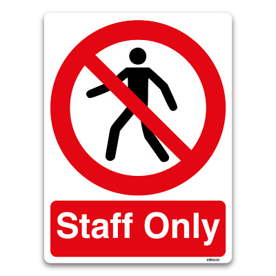 Staff Only Sign, Vinyl Sticker, Laminated, Plastic Prohibition Door Entry Safety