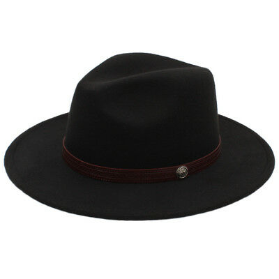 Fashion Men Women Wool Trilby Fedora Hat Dad Wide Brim Jazz Hat