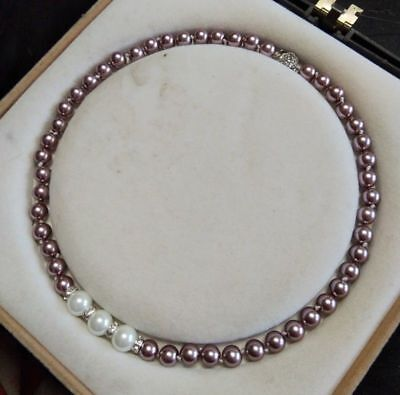 "Pretty 8mm Dark Purple/10mm White South Sea Shell Pearl Necklace 18"" AAA+ j01"