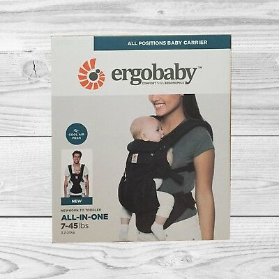 NEW! ERGOBABY 360 OMNI COOL AIR MESH ERGO BABY Carrier Adjustable Sling BLACK