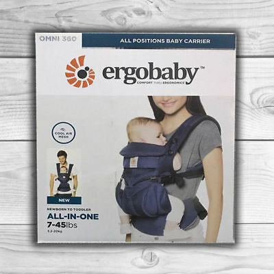 NEW ERGOBABY 360 OMNI COOL AIR MESH ERGO BABY Carrier Adjustable Sling Wrap BLUE