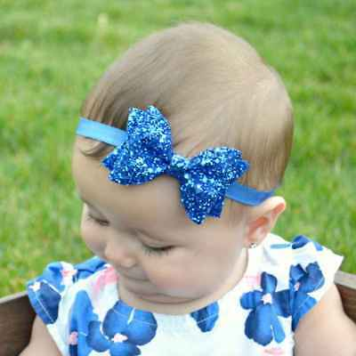 Baby Girls Headbands Bling Sparkly Glitter Sequin Hair Bands Bows Accessories